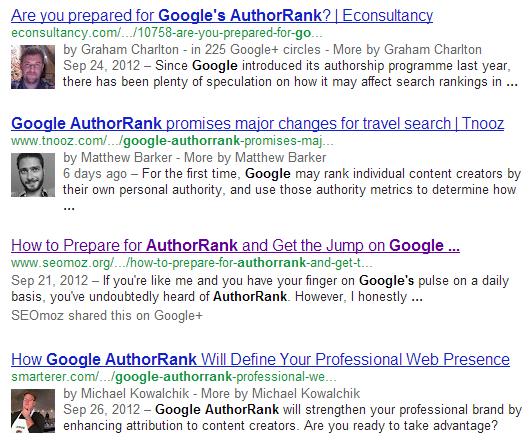 Author Attribution in Google Search Results