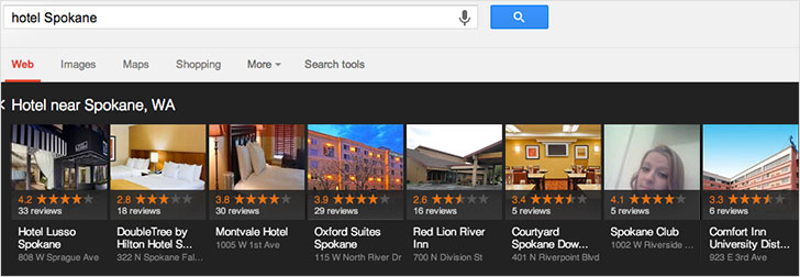 "Google search for ""hotel Spokane"""