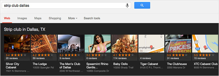 "Google search for ""strip club Dallas"""