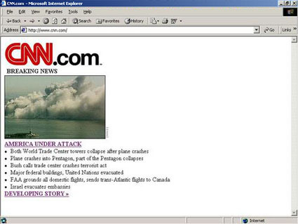 Then and Now: CNN Homepage on 9.11.2001