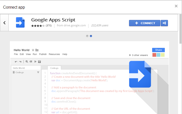 Connect Google Apps Script